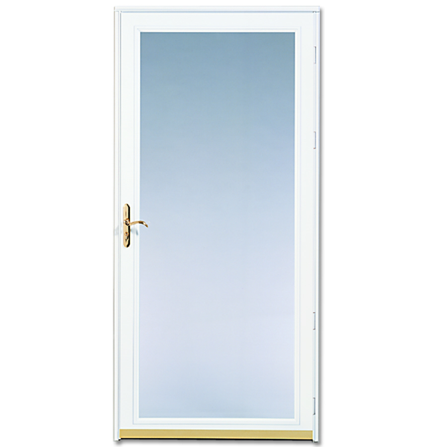 Shop pella ashford white full view safety glass and for Full glass screen door