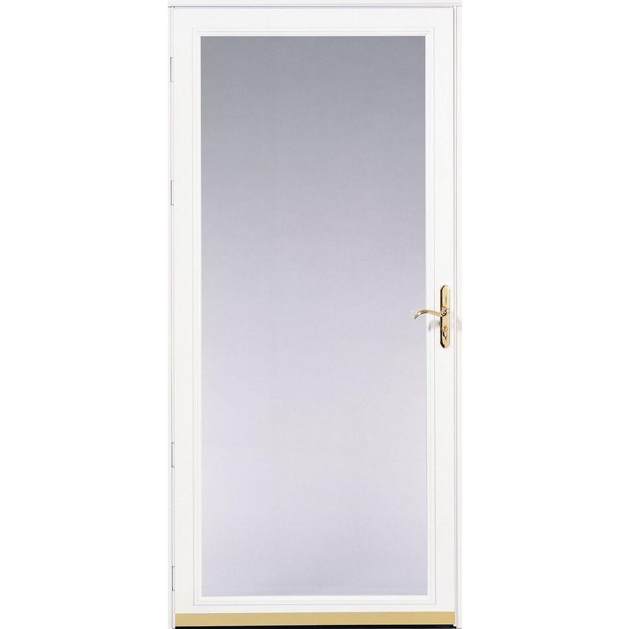 Shop pella 36 almond ashford storm door at for Lowes storm doors