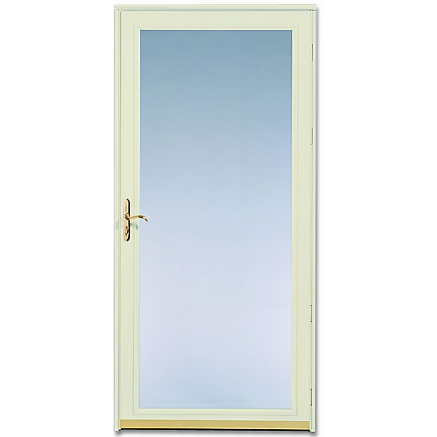 Shop pella ashford poplar white full view safety full view for Full glass screen door