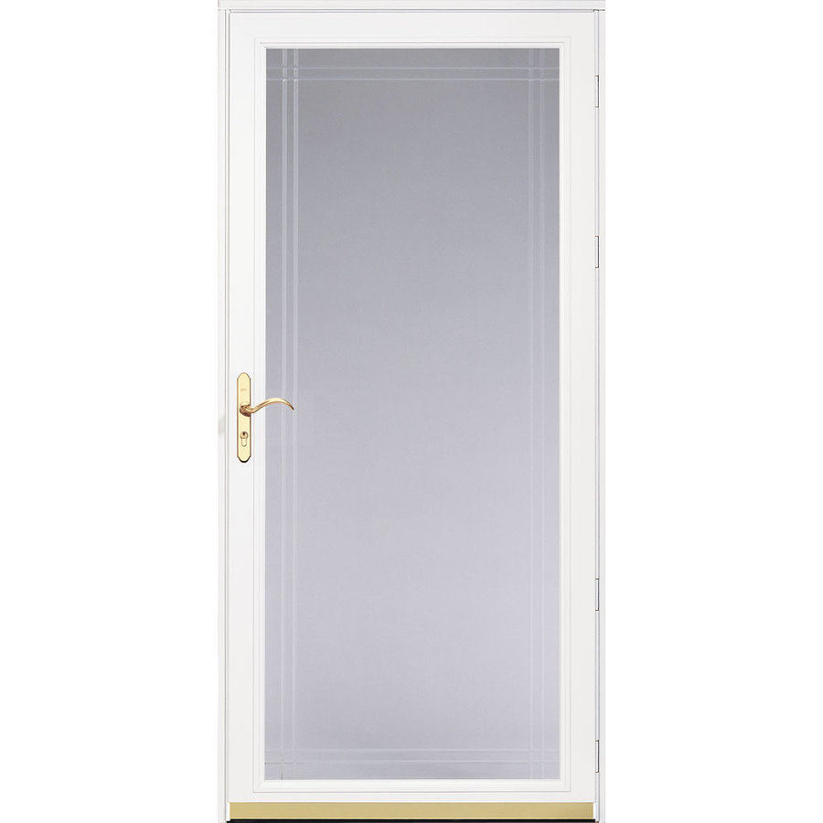 Shop pella royalton white full view beveled safety glass for Full glass screen door