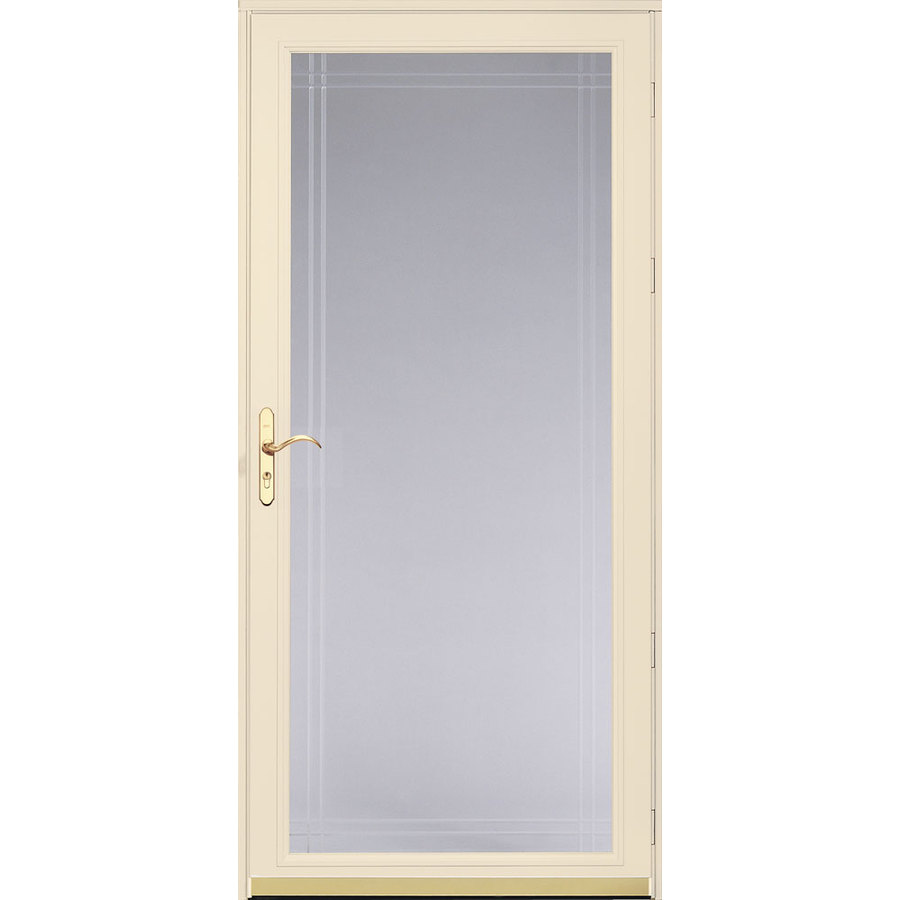 Shop pella royalton poplar white full view beveled safety for Full glass screen door