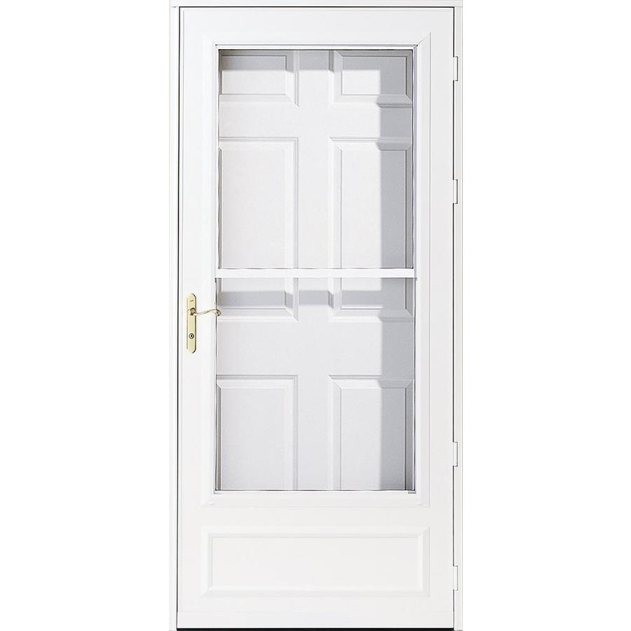 Shop pella helena white mid view safety retractable screen Cost of retractable screen doors