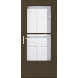 Shop pella helena brown mid view safety wood core for Best rated retractable screen doors