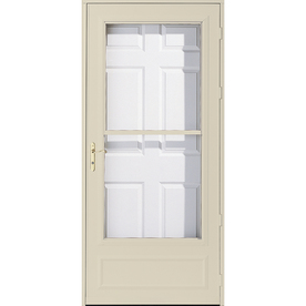 Shop pella helena poplar white mid view safety wood core for Pella retractable screen door