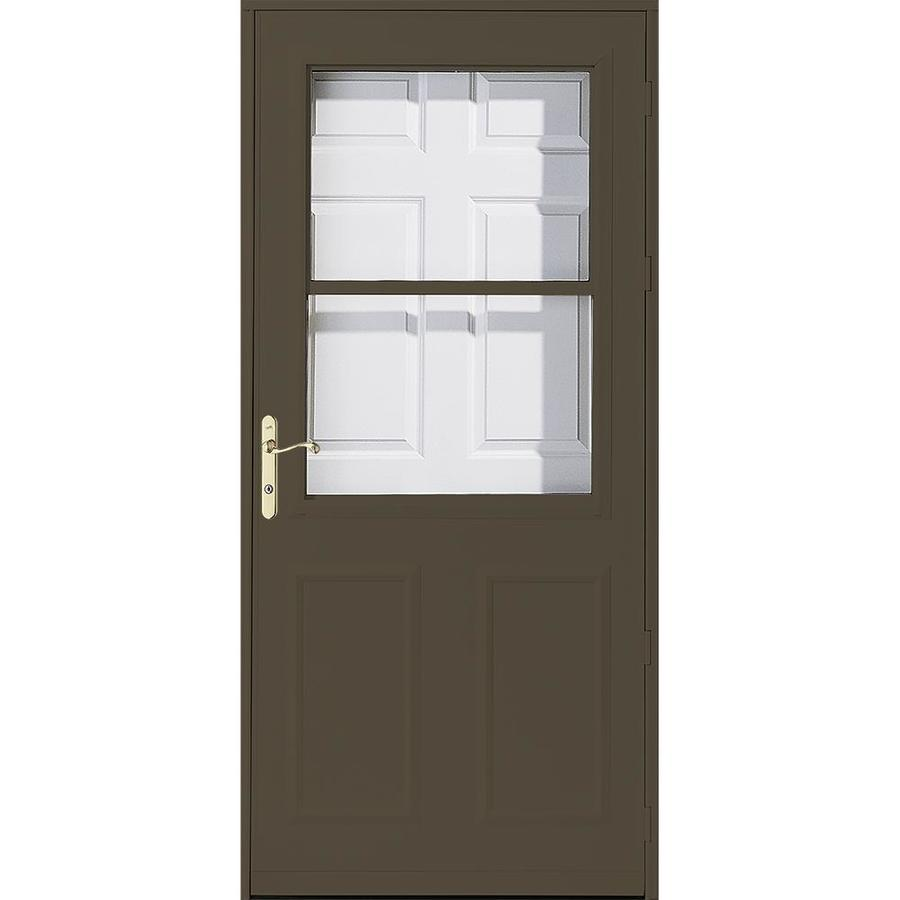 Shop Pella Olympia Brown High View Safety Retractable Screen Storm Door Common 30 In X 81 In