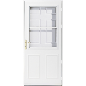 Shop pella olympia white high view safety wood retractable for Best rated retractable screen doors