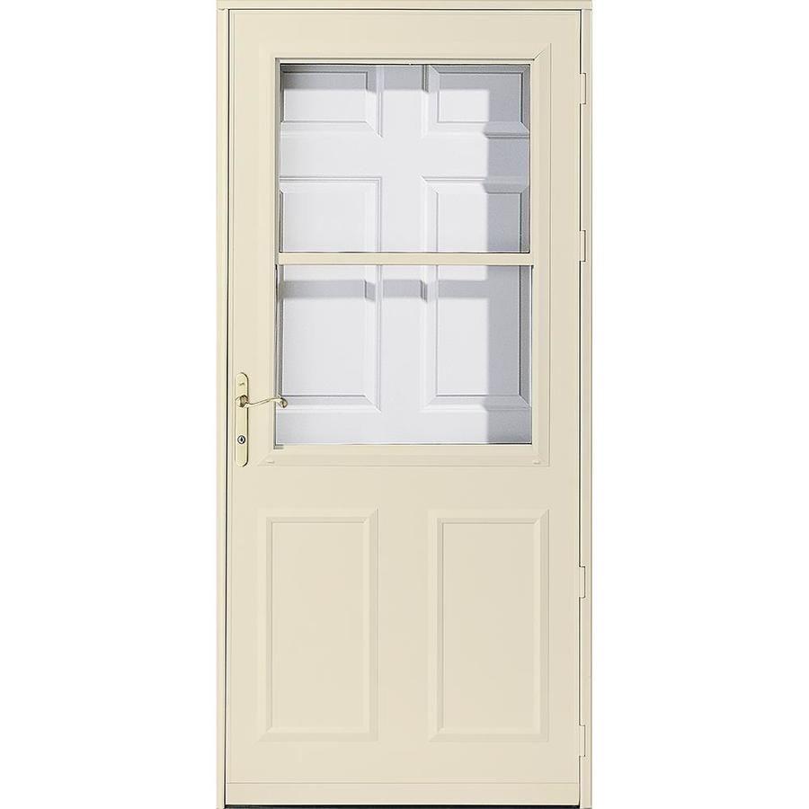 Shop pella olympia poplar white high view safety for 36 inch retractable screen door