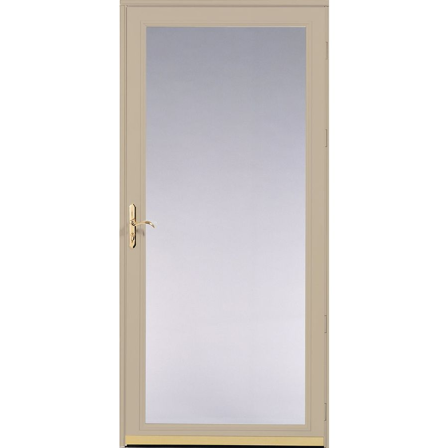 Shop pella ashford tan full view safety glass and for Full glass screen door