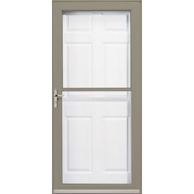 Pella 32-in x 81-in Putty 3800 Full-View Safety Storm Door