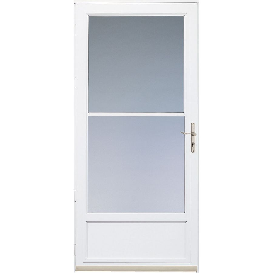 shop pella white hartford mid view safety storm door at