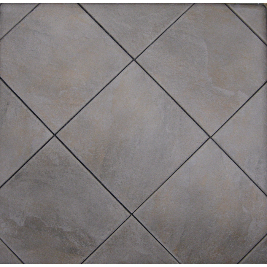 Shop style selections jackson ridge black glazed porcelain indoor outdoor floor tile common 12 - Lowes floor tiles porcelain ...