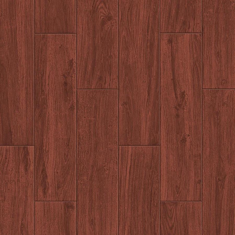 Shop style selections serso mahogany glazed porcelain floor tile common 6 in x 24 in actual - Lowes floor tiles porcelain ...