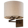 13.63-in H Bronze Swing-Arm Wall-Mounted Lamp with Glass Shade