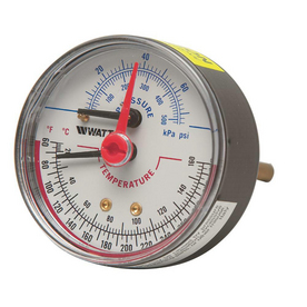 Watts 1/2 IN Back Entry Pressure and Temperature Gauge 0 to 50 PSI