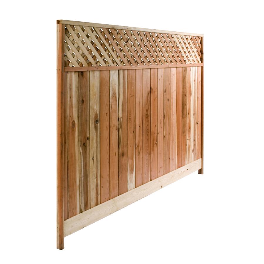 Shop 8 Ft X 6 Ft Redwood Lattice Top Wood Fence Panel At