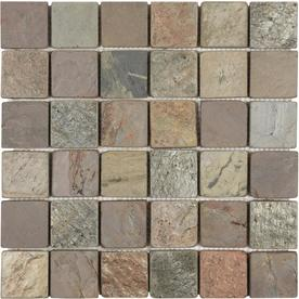 Anatolia Tile Multi Color Tumbled Slate Uniform Squares Mosaic Slate Wall Tile (Common: 12-in x 12-in; Actual: 11.73-in x 11.73-in)