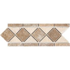 Anatolia Tile Noce and Chiaro Travertine Travertine Listello Tile (Common: 4-in x 12-in; Actual: 4.13-in x 11.29-in)