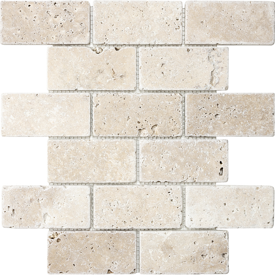 Shop anatolia tile chiaro tumbled marble natural stone mosaic subway wall tile common 12 in x Stone backsplash tile