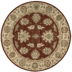 Nourison 5-ft 6-in Round Red Transitional Area Rug