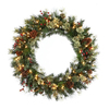 Christmas Central Nisswa Berry 24-in Pre-Lit Indoor Pine Artificial Christmas Wreath with Clear Incandescent Lights