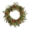 Christmas Central Red Berry and Ball Ornament 24-in Pre-Lit Indoor Pine Artificial Christmas Wreath with Clear Incandescent Lights