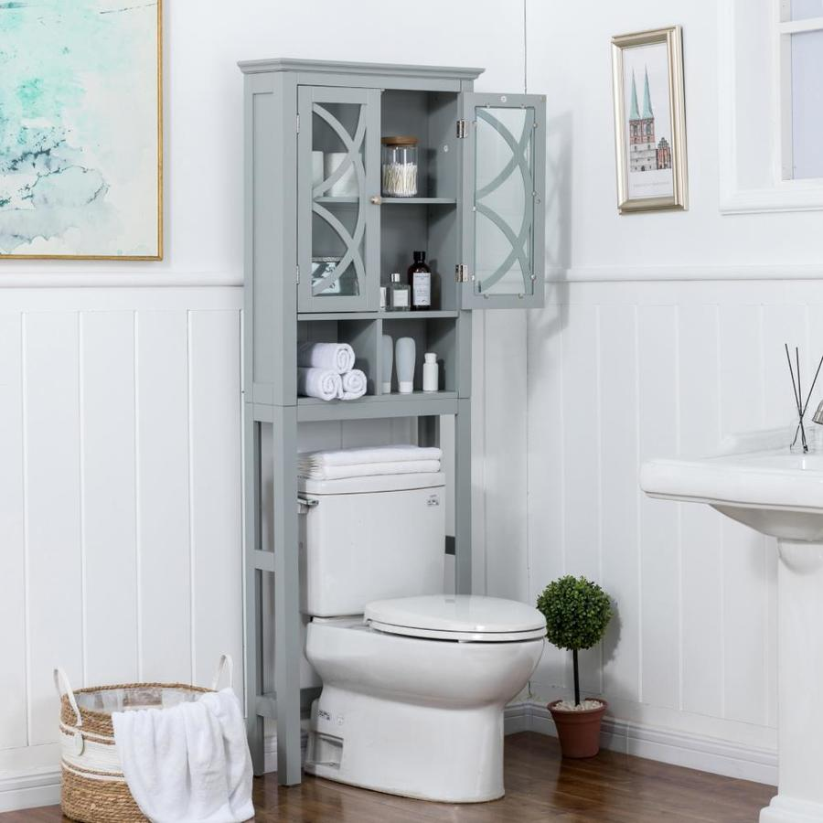 Glitzhome Bathroom Over-The-Toilet Space Saver Storage with Shelf and 2-Door Cabinet Espresso 68 H