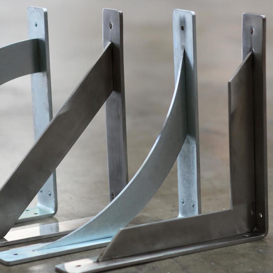 Ekena Millwork BKTM02X16X16TRHSV 2 W D x 16 H Traditional Steel Bracket Hammered Silver 2 Wx 16 Dx 16