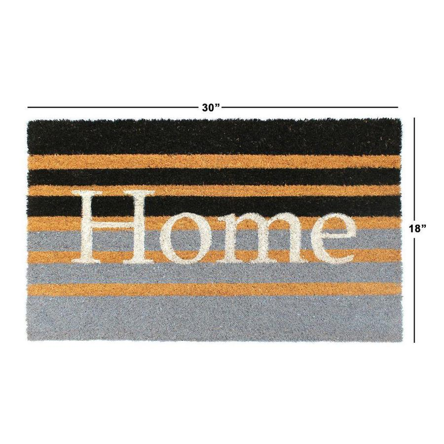 Indoor Outdoor Rug Entryway Welcome Mats with Rubber Backing for Shoe Scraper Ideal for High Traffic Area Steel Grey Pack Striped Door Floor Mat with Home Print Design 29x17 inches Zuci 2