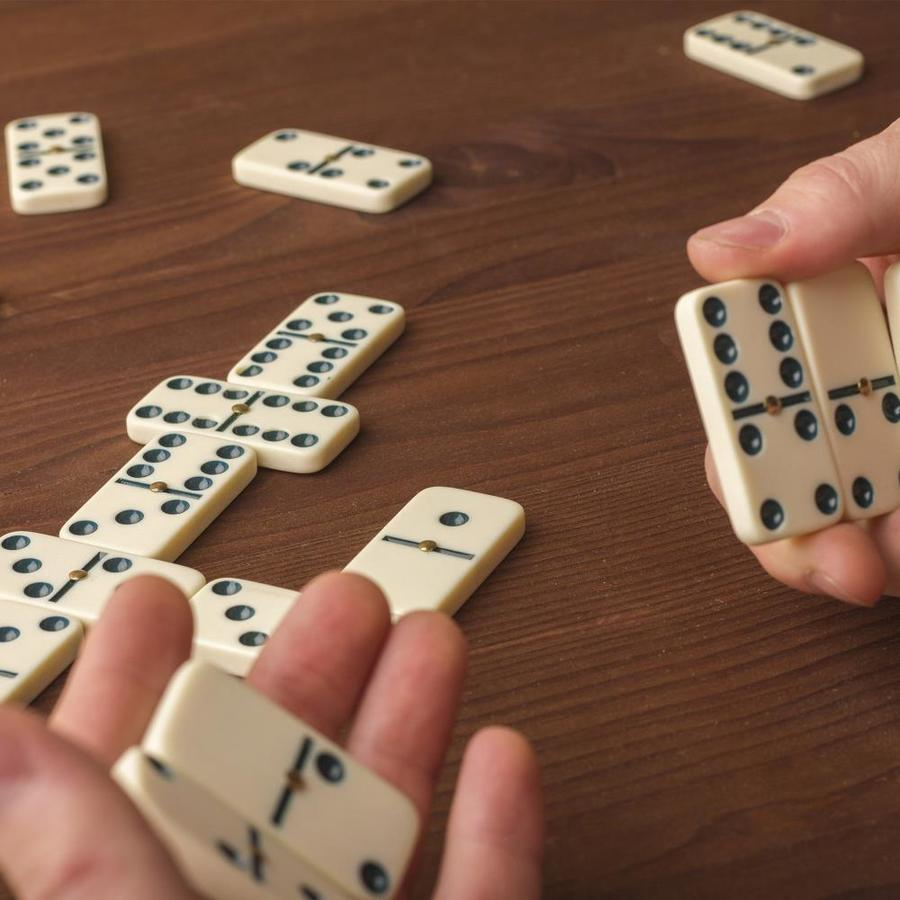 Dominoes Double 6 Six Professional Size White Color Tile Game w// Brass Spinners