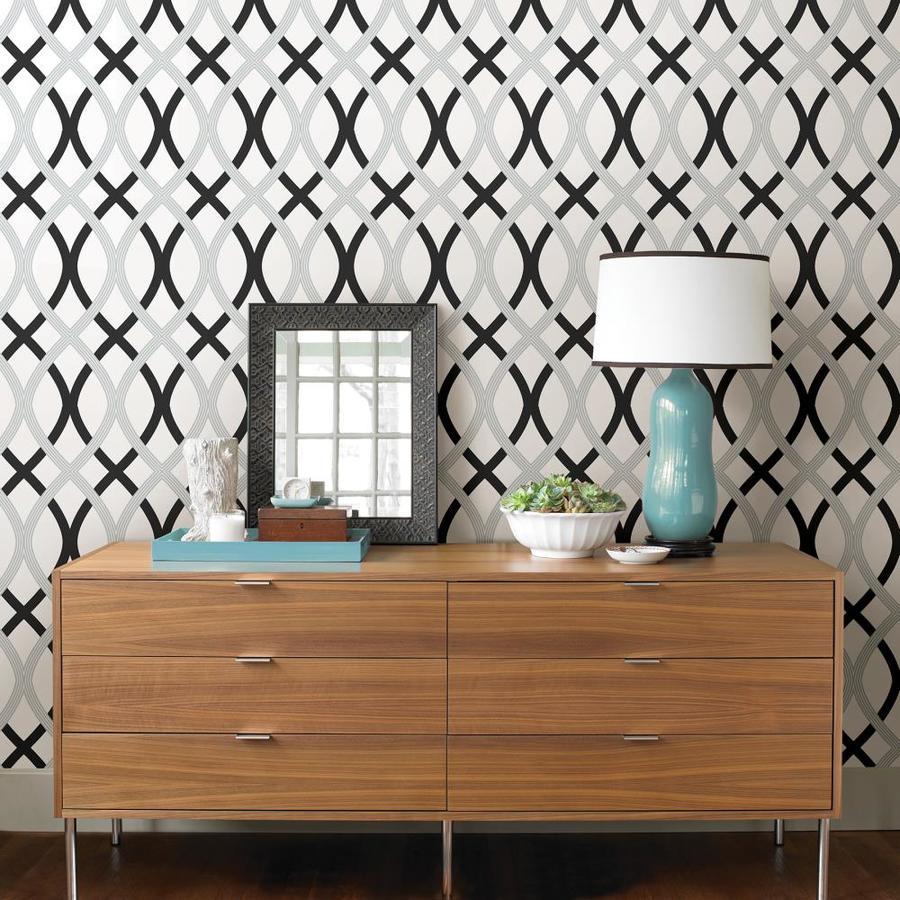 NuWallpaper Wall Pops Black Silver Lattice Peel and Stick Wallpaper NU1658