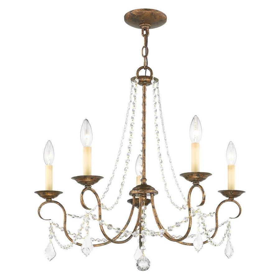 Livex Lighting 6435-71 Chesterfield 5 Light Chandelier Hand Applied Venetian Golden Bronze