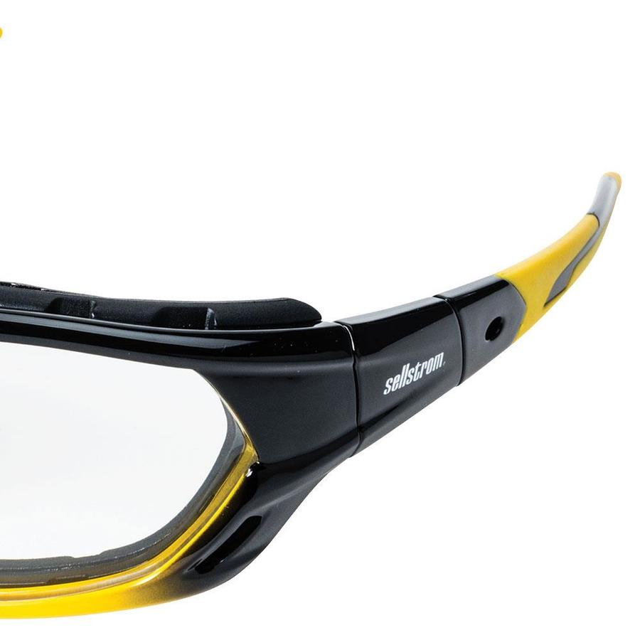 Blue Frame Clear Lens Sellstrom PT9 Protective Glasses with Black Temples Tips