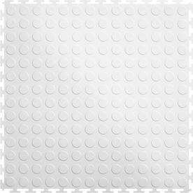 Perfection Floor Tile 8-Piece 20.5-in x 20.5-in White Raised Coin Garage Floor Tile