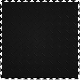 Perfection Floor Tile 8-Piece 20.5-in x 20.5-in Black Diamond Plate Garage Floor Tile