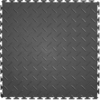 Perfection Floor Tile 20-1/2-in x 20-1/2-in Dark Gray Diamond Plate Garage Flooring Tile