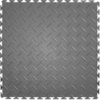 Perfection Floor Tile 20-1/2-in W x 20-1/2-in L Light Gray Diamond Plate Garage Vinyl Tile