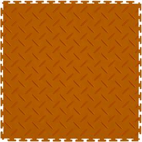 Perfection Floor Tile 8-Piece 20.5-in x 20.5-in Orange Diamond Plate Garage Floor Tile