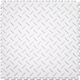 Perfection Floor Tile 8-Piece 20.5-in x 20.5-in White Diamond Plate Garage Floor Tile