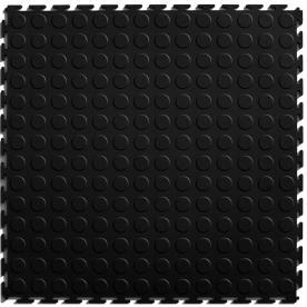Perfection Floor Tile 20-1/2-in x 20-1/2-in Black Raised Coin Garage Flooring Tile