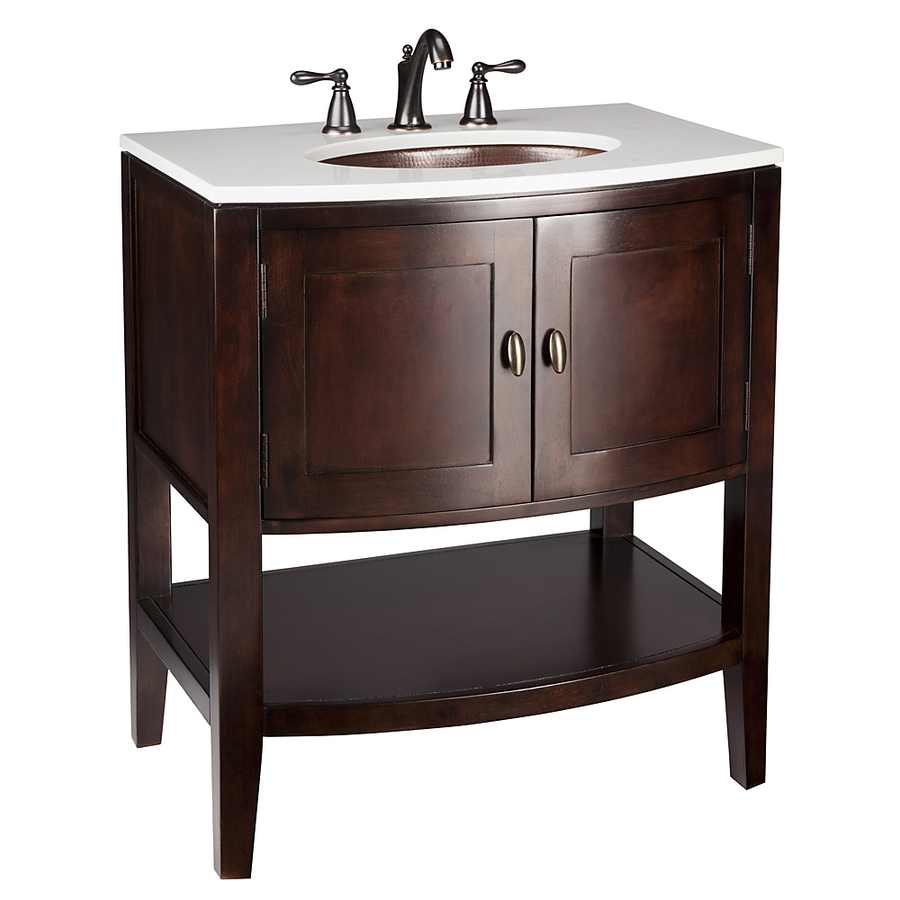 Shop allen roth renovations merlot undermount single sink poplar bathroom vanity with cultured Lowes bathroom vanity and sink