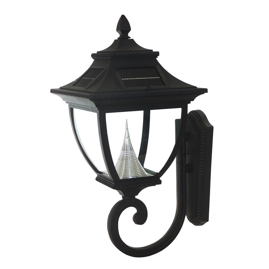 shop gama sonic pagoda 21 in h black solar led post light at. Black Bedroom Furniture Sets. Home Design Ideas