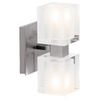 Access Lighting Astor 4.25-in W 2-Light Brushed Steel Crystal Accent Arm Hardwired Wall Sconce