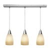 Access Lighting 4-1/2-in Inari Silk 3-Light Brushed Steel Art Glass Island Light