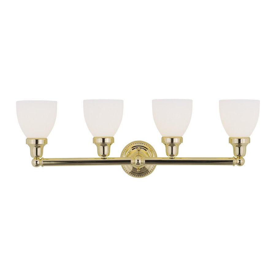 Vanity Lighting Polished Brass : Shop Livex Lighting 4-Light Classic Polished Brass Bathroom Vanity Light at Lowes.com