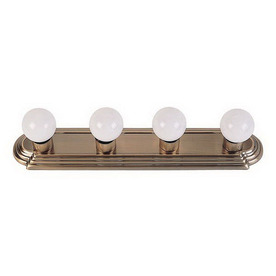 Shop Livex Lighting 4-Light Basics Ornate Antique Brass Bathroom Vanity Light at Lowes.com