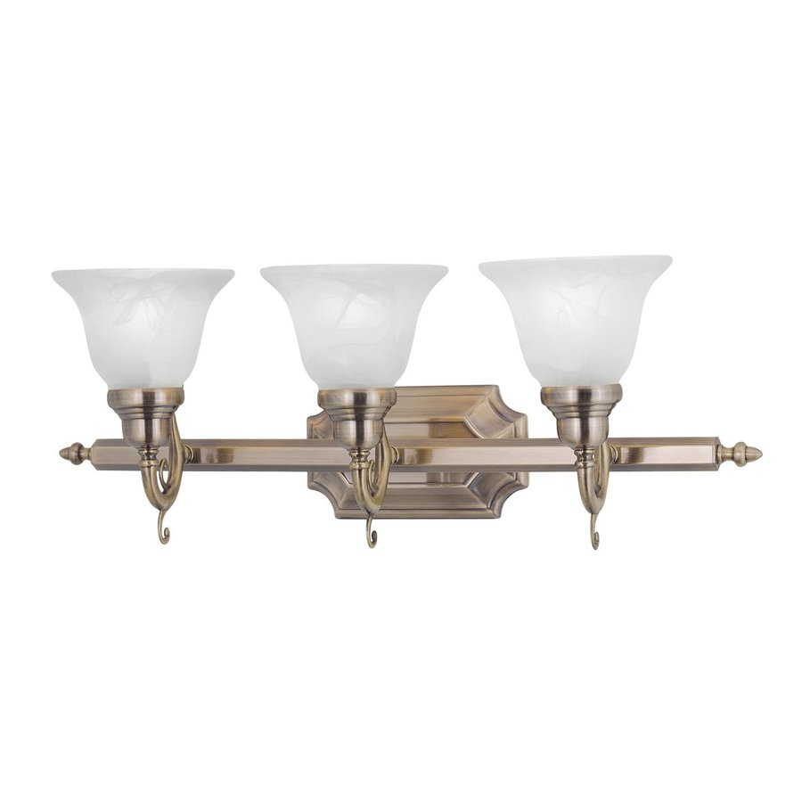 Bathroom Vanity Lights Vintage : Shop Livex Lighting 3-Light French Regency Antique Brass Bathroom Vanity Light at Lowes.com