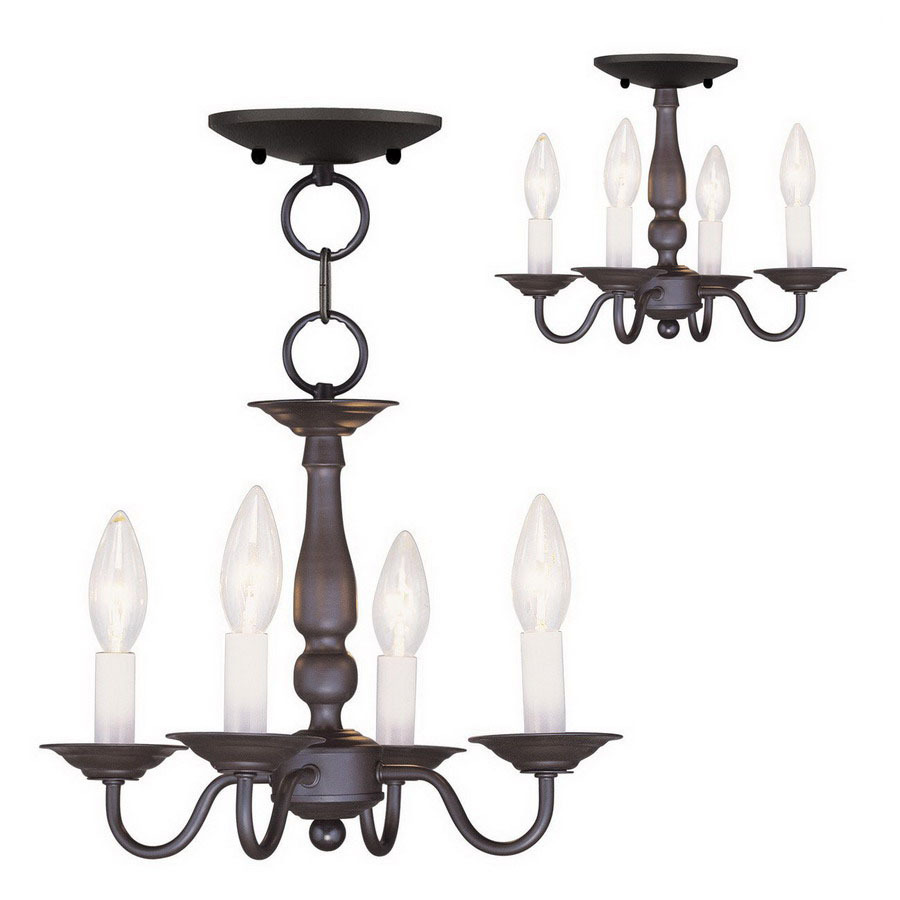 Shop livex lighting williamsburg 4 light bronze chandelier for Williamsburg style lighting