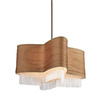 Thomas Lighting 30-1/4-in W Jessica Sienna Bronze Pendant Light with Fabric Shade