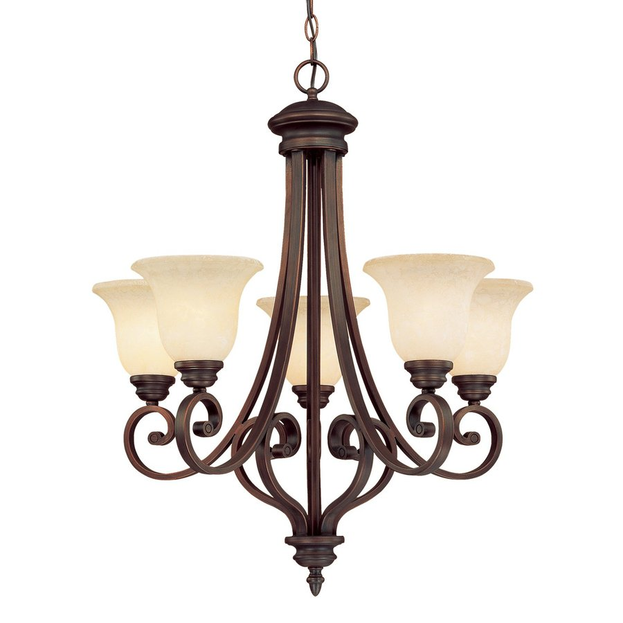 Shop millennium lighting oxford 5 light rubbed bronze hardwired standard chandelier at - Lighting lamps chandeliers ...