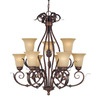 Millennium Lighting 9-Light Roanoke Burled Bronze Chandelier